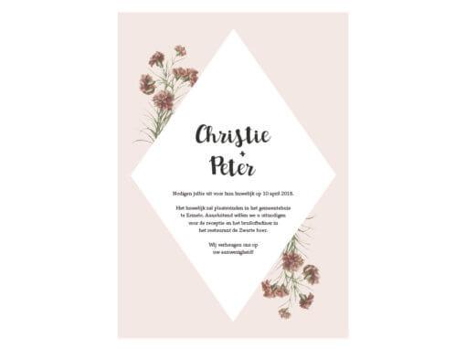 Trouwkaart roze bloemen